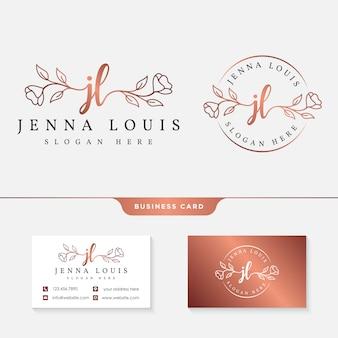 Różowe złoto logo i wizytówka