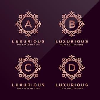 Różowe złoto luksusowe litery a, b, c, d logo