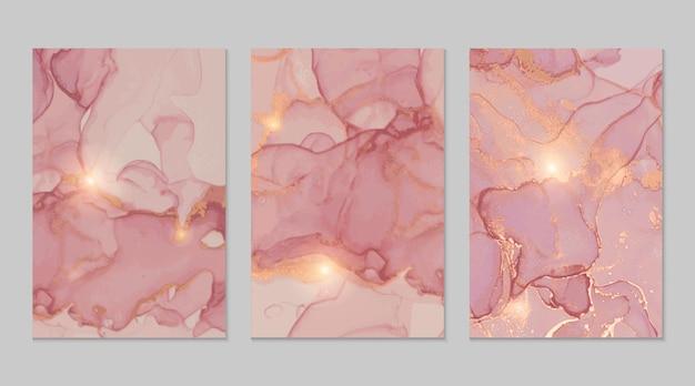 Różowe złoto marmurowe abstrakcyjne tekstury w technice tuszu alkoholowego