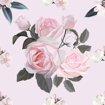 Różowego kwiatu bezszwowa deseniowa wektorowa ilustracja