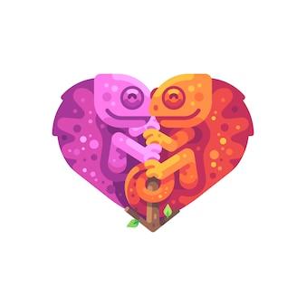 Różowi i pomarańczowi kameleony siedzi na gałąź w kształcie serca.