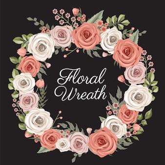 Różowo-beżowy wieniec kwiatowy