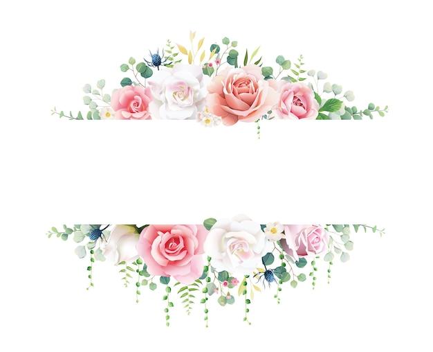 Różowo-biała róża z banerem zieleni