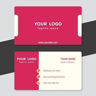 Różowo-biały szablon wizytówki