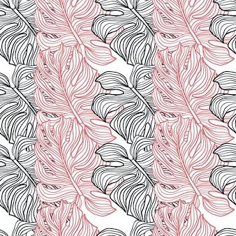 Różowo-granatowy kolorowy kontur ornament monstera. nadruk na białym tle. konturowany ornament. tło dekoracyjne do projektowania tkanin, nadruków na tekstyliach, zawijania, okładek. ilustracja wektorowa.