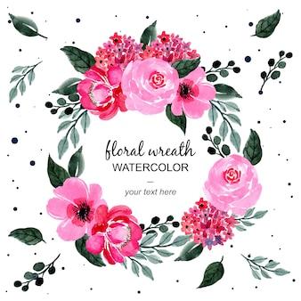 Różowo-zielony wieniec kwiatowy akwarela