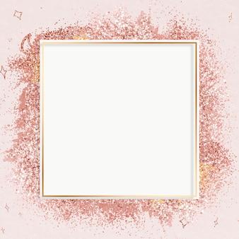 Różowo-złota ramka z brokatem różowy świąteczny