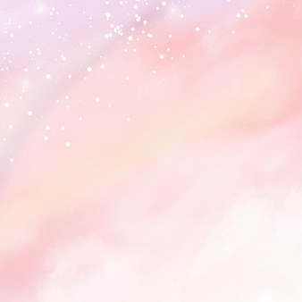 Różowy akwarela bawełna chmura tło. szablon tło nieba pastelowych fantazji na zaproszenie na ślub, kartkę z życzeniami, baner lub ulotki. ilustracja wektorowa puszystych cukierków chmur.