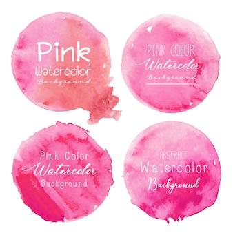 Różowy akwarela koło ustawiający na białym tle