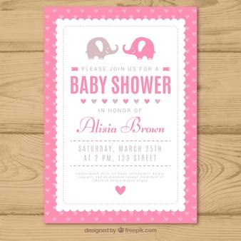 Różowy baby shower zaproszenia