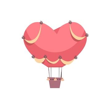 Różowy balon w kształcie serca koncepcja uroczystości walentynki kartka z pozdrowieniami transparent zaproszenie plakat ilustracja