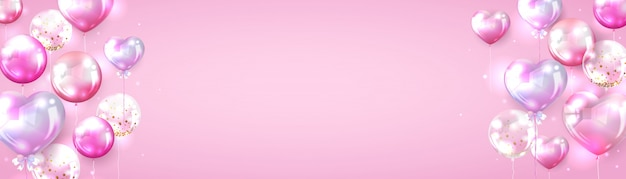 Różowy balonowy tło dla valentine sztandaru projekta