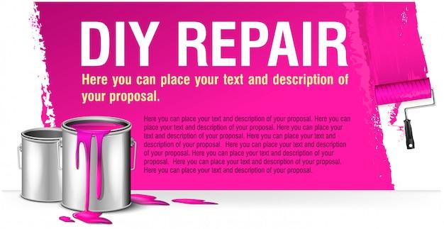 Różowy baner na reklamę naprawy diy z bankiem farb.