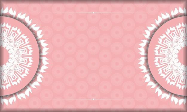 Różowy baner z białym ornamentem mandali i miejscem na logo lub tekst