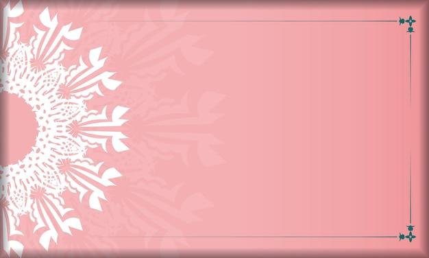 Różowy baner z indyjskim białym wzorem i miejscem na twoje logo