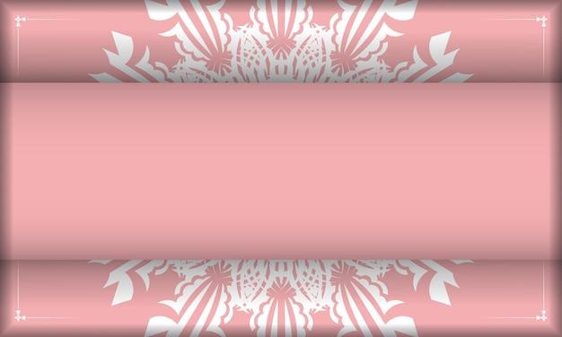 Różowy baner z indyjskimi białymi ornamentami i miejscem na twoje logo