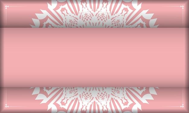 Różowy baner z luksusowym białym wzorem i miejscem na logo lub tekst