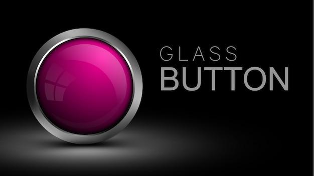 Różowy błyszczący okrągły przycisk z metalową ramką
