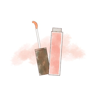 Różowy błyszczyk ręcznie rysowane ilustracja.