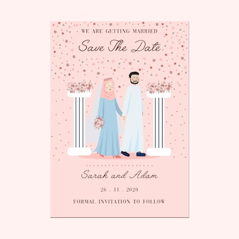 Różowy brzoskwiniowy kwiat filaru kolumna wieniec muzułmańskich para portret zaproszenia ślubne