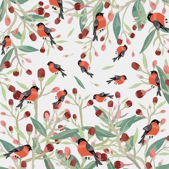 Różowy czerwony kwiat z zielonym liściem i pomarańczowym ptakiem.