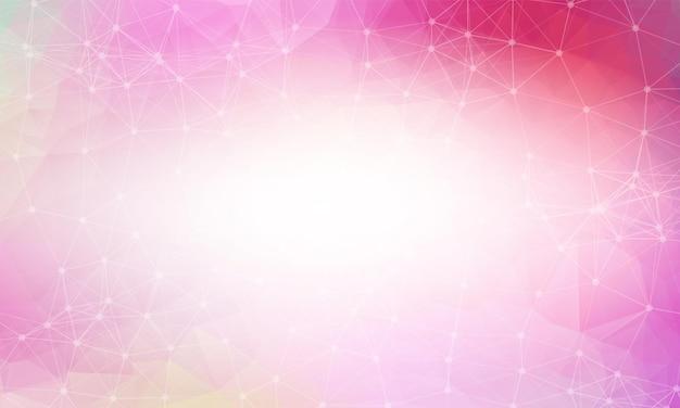 Różowy czerwony low poly tło. wielokątny wzór projektowy. jasna mozaika nowoczesny geometryczny wzór, kreatywne szablony projektowe. połączone linie z kropkami.