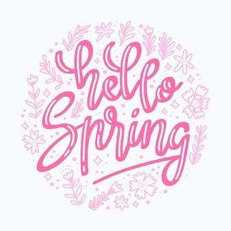 Różowy cześć wiosna napis