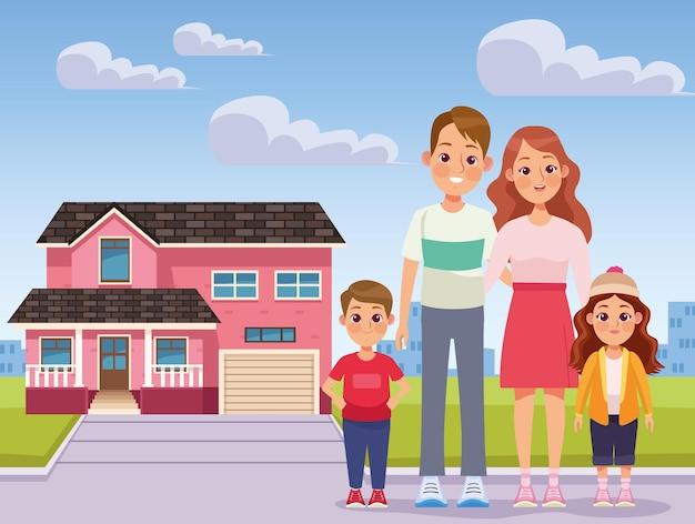 Różowy dom i rodzina