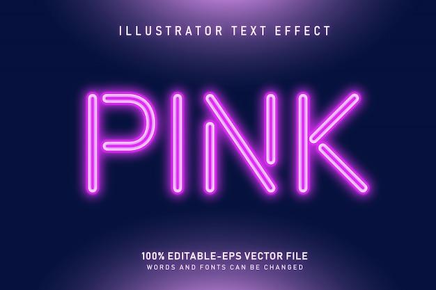 Różowy efekt tekstu neonowego