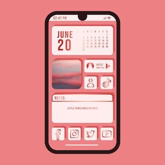 Różowy elegancki ekran główny