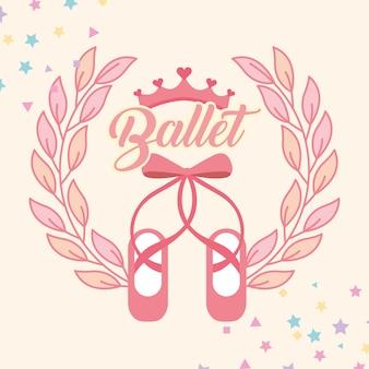 Różowy emblemat butów balet pointe
