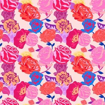 Różowy estetyczny kwiatowy wzór z kolorowym tłem róż