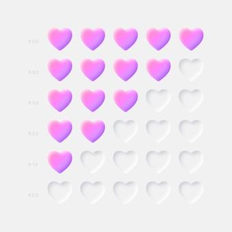 Różowy fioletowy 3d serca ikony oceny neumorficznych elementów interfejsu użytkownika ux na jasnym tle