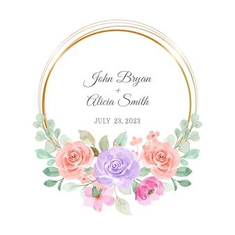 Różowy fioletowy wieniec kwiatowy akwarela ze złotym kółkiem