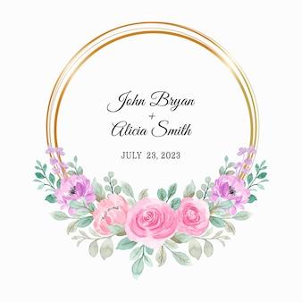 Różowy fioletowy wieniec kwiatowy z akwarelą