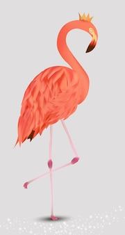 Różowy flaming. egzotyczny ptak flamingo.