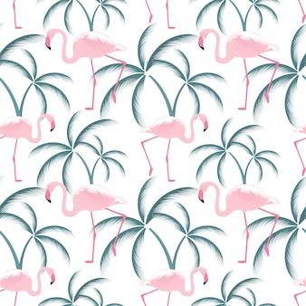 Różowy flaming stoi w pobliżu palmy. wzór.