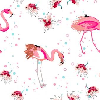 Różowy flaming z tropikalnymi liśćmi kwiecisty bezszwowy wzór.