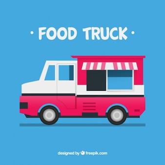 Różowy food truck