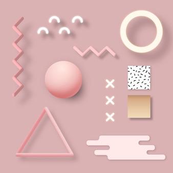 Różowy geometryczny zestaw banerów społecznościowych memphis
