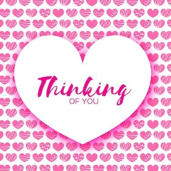 Różowy happy valentines day greeting card.