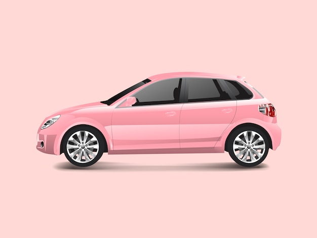Różowy hatchback samochód w różowym tło wektorze