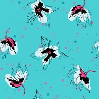 Różowy hibiskus kwitnie tropikalnego wektorowego bezszwowego wzór. egzotyczny wzór z delikatnymi pąkami. kwiatowy styl hawajski