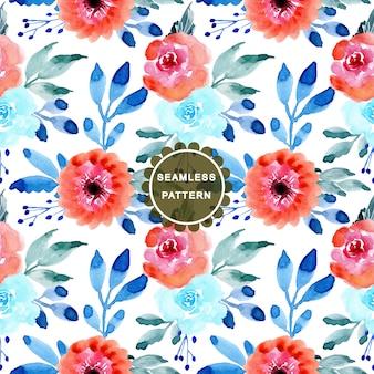 Różowy i niebieski kwiat akwarela bezszwowe wzór