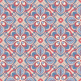 Różowy i niebieski kwiatowy wzór