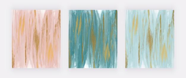 Różowy i niebieski ze złotym brokatem tekstury streszczenie backrounds