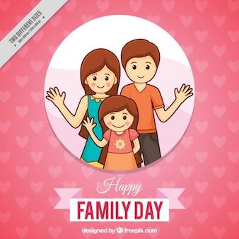 Różowy i szczęśliwa rodzina dzień tła