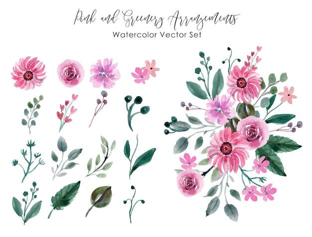 Różowy i zieleni aranżacje akwarela wektor zestaw