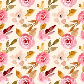 Różowy i złoty akwarela kwiatowy wzór