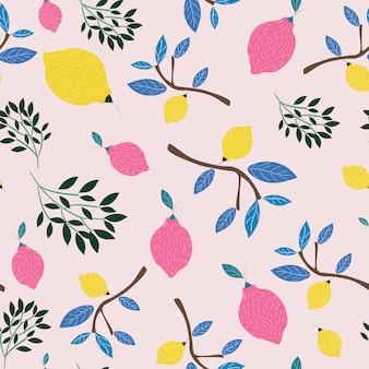 Różowy i żółty cytryny lata bezszwowy wzór